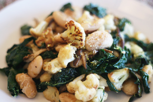 wintry butter bean and kale saute